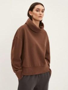 Faded Fleece Mockneck in Brown