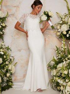 Bridal Lace Bodice Maxi Wedding Dress in White