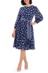 Dot Print Long Sleeve Pleated Midi Dress