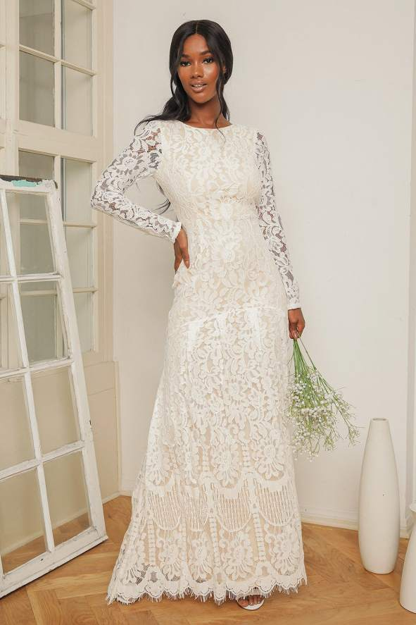 Say I Do White Lace Long Sleeve Mermaid Maxi Dress