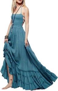 R.Vivimos Womens Summer Cotton Sexy Blackless Long Dresses