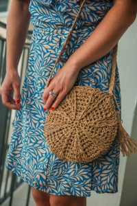 Tassel Detail Round Straw Crossbody Bag