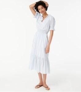 Smocked ruffle dress in stripe