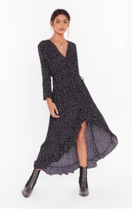 It's Dot Your Fault Wrap Midi Dress