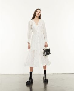 Brands like AllSaints LONG BUTTONED ECRU DRESS WITH EMBROIDERY