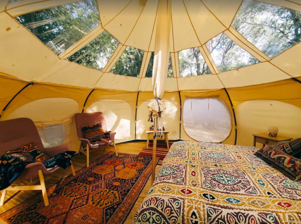 Yurt glamping in the driftless