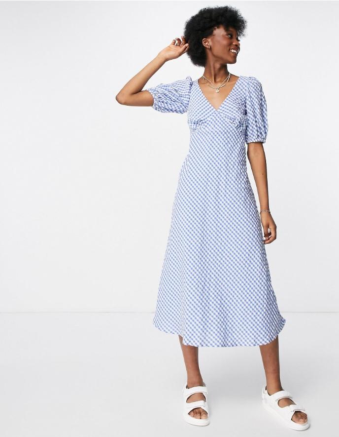 New Look puff sleeve midi tea dress in blue gingham