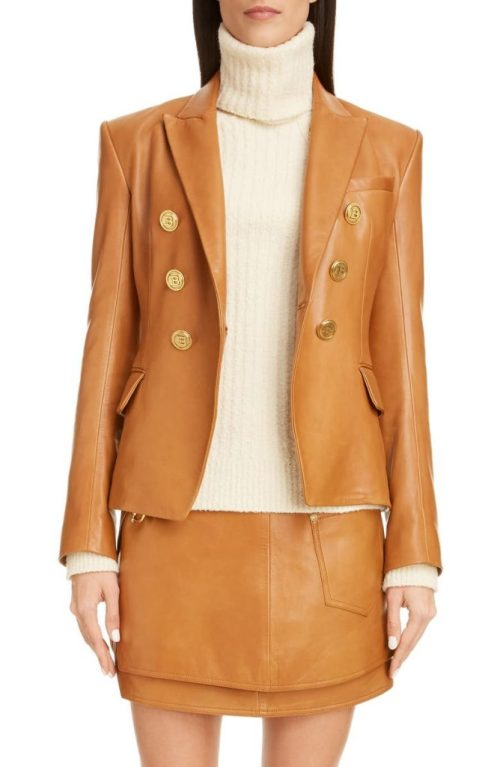 Double Breasted Lambskin Leather Jacket BALMAIN