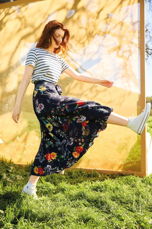 Flora Washable Silk Skirt in Provence Floral
