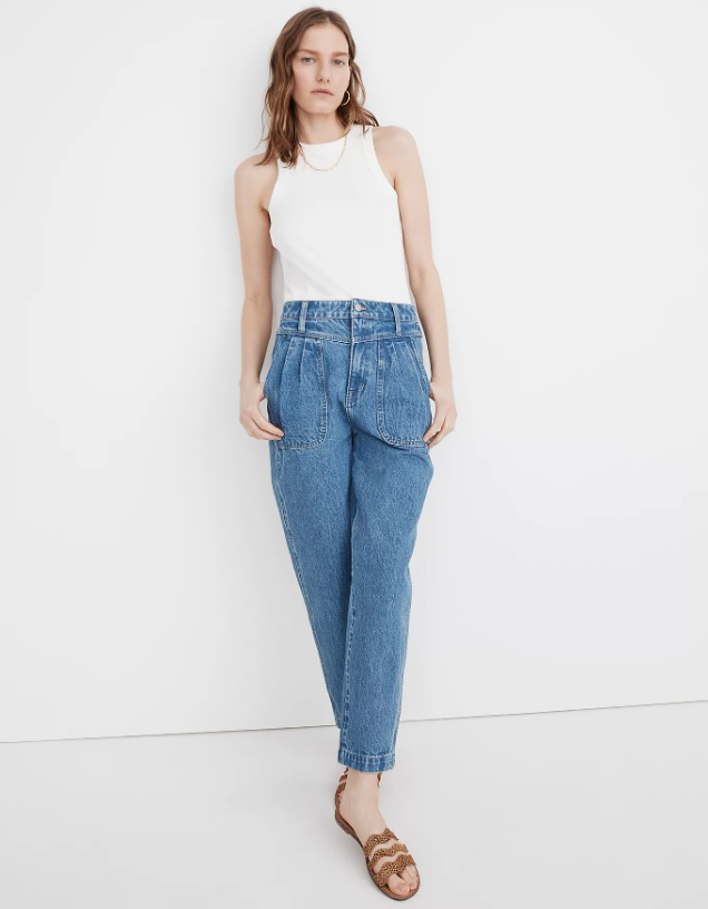 Baggy Pleated Tapered Jeans in Springdale Wash