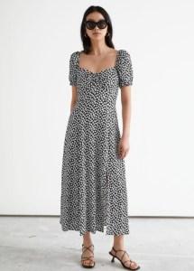 Flowy Puff Sleeve Midi Dress