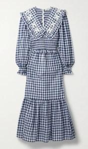 SEA Gina shirred embroidered gingham cotton-voile midi dress