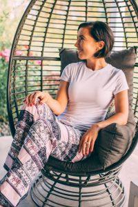 Amoretu Women High Waist Pajama Pants, Casual Wide Leg Boho Palazzo Pants