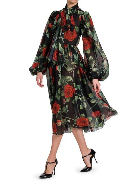 DOLCE&GABBANA Floral Chiffon Puff Sleeve Dress