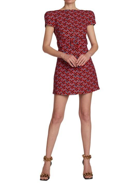 Versace La Greca Natté Wool Mini Dress