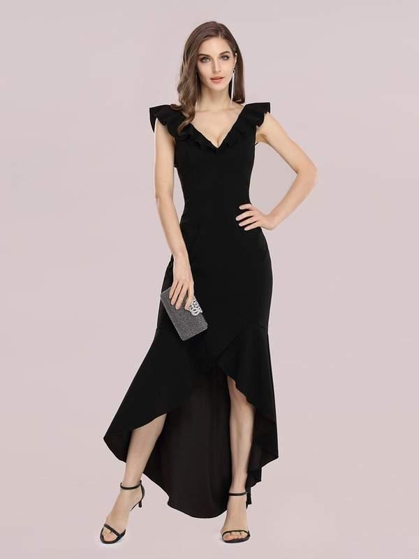 Stylish Maxi V Neck High-Low Fishtail Party Dress
