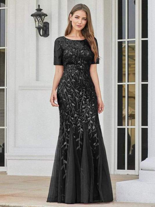 Floral Sequin Maxi Fishtail Tulle Prom Dress with Half Sleeve