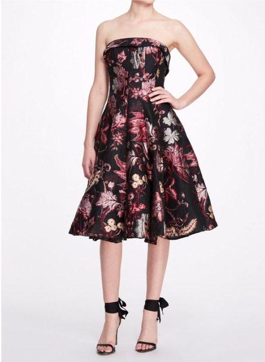 Marchesa Notte Strapless Floral Tea Length Gown