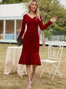 Ruffle Hem Ruched Detail Velvet Dress
