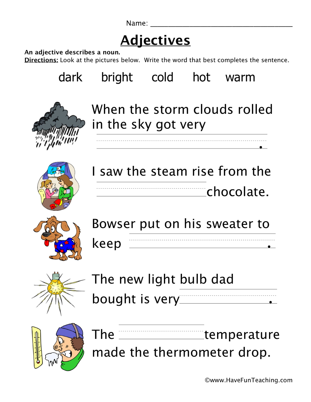 Adjectives Worksheet 3