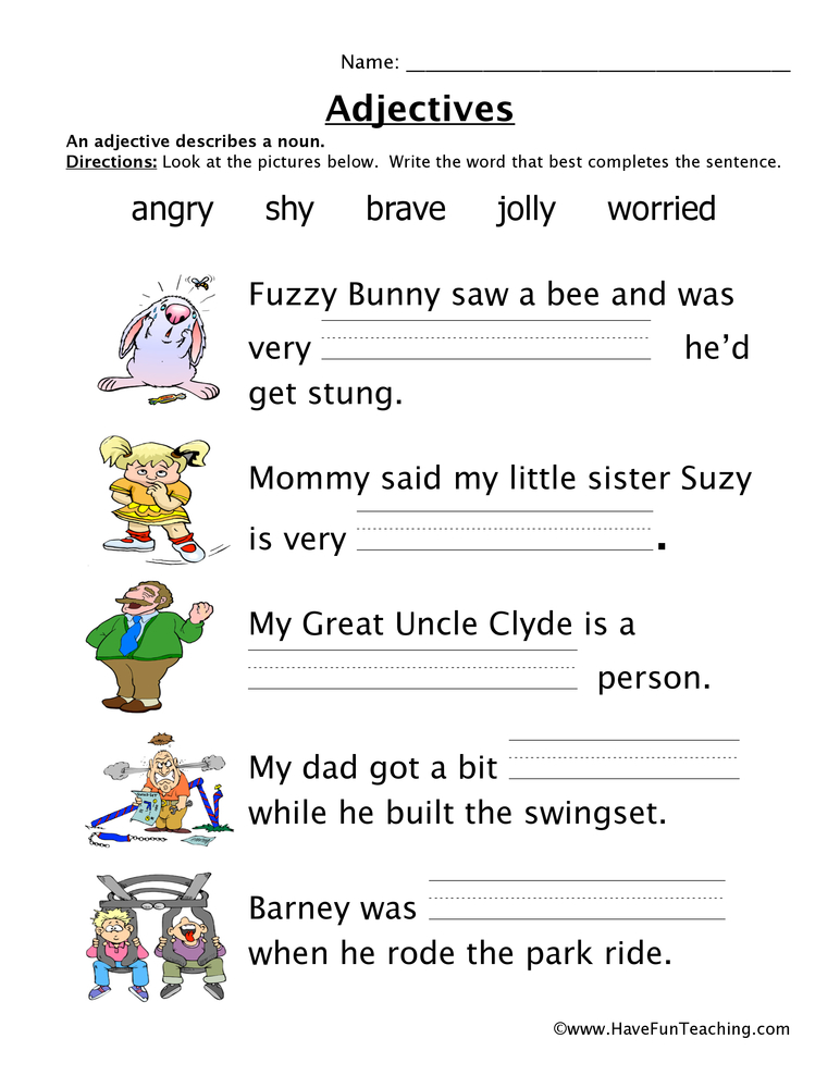 Adverbs Worksheets For 1st Grade