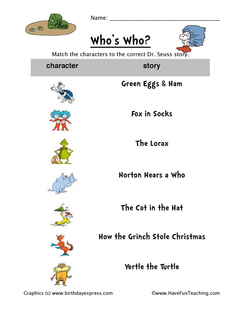Dr Seuss Matching Worksheet