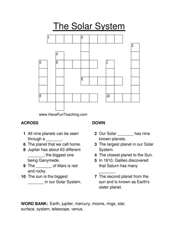 Solar System Crossword Puzzle Have Fun Teaching