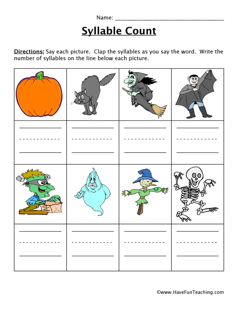 Halloween Syllable Worksheet
