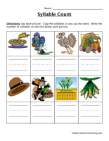 Thanksgiving Syllable Worksheet