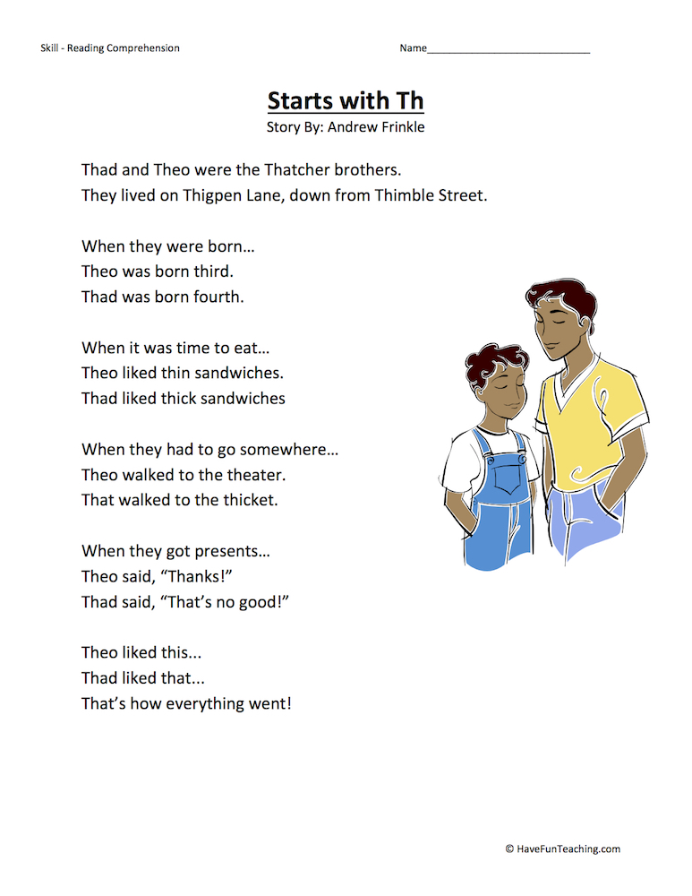 Starts With Th Reading Comprehension Worksheet Have Fun