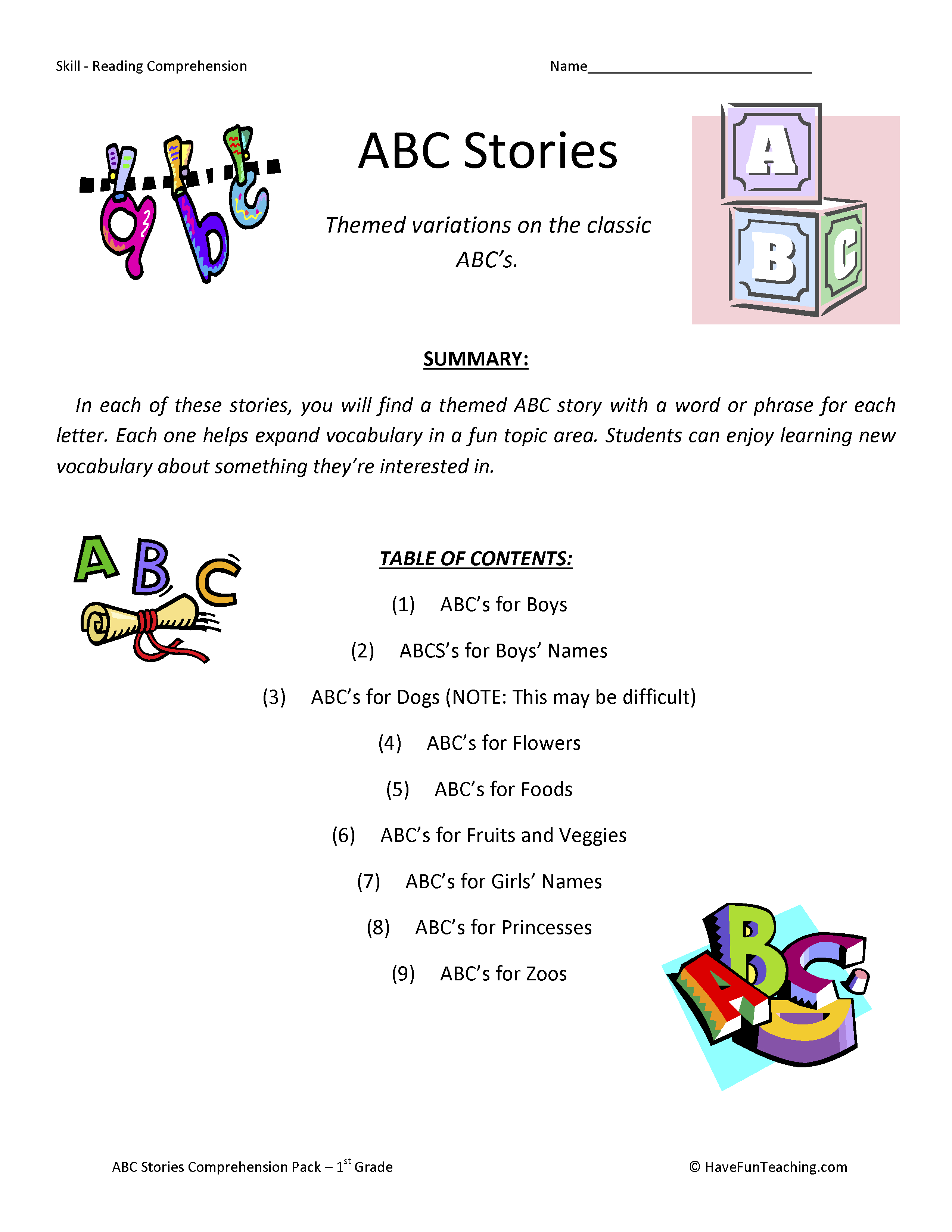 Abc Stories Reading Comprehension Test Collection