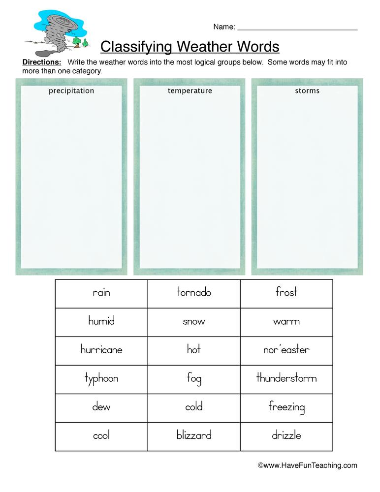Science Sorting Worksheet
