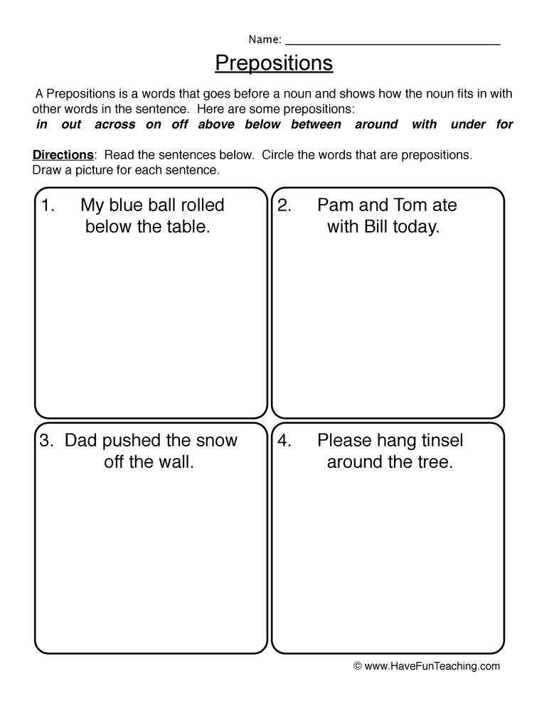 Prepositions Worksheet 2