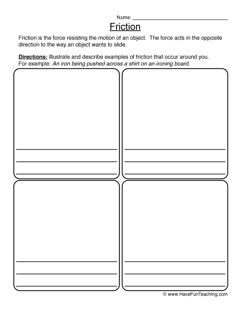 Friction Worksheet Draw Have Fun Teaching