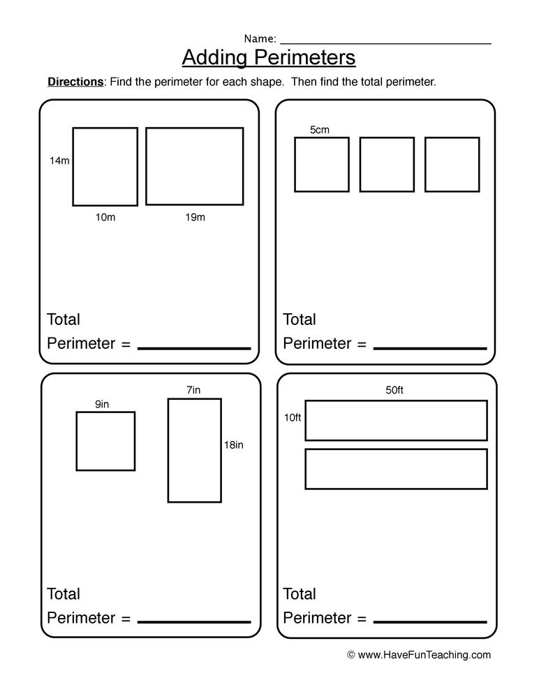 Math Perimeter Worksheets Resources