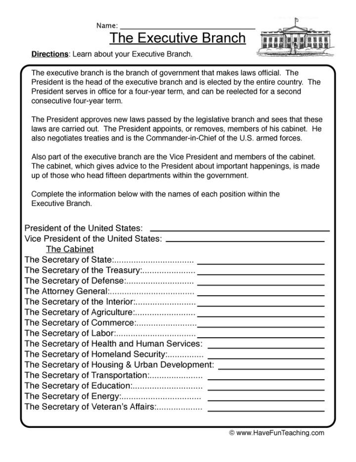 President S Cabinet Worksheet – Presidents Worksheets