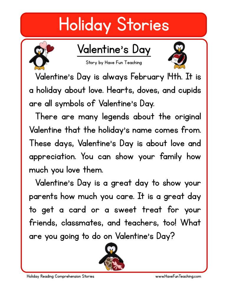 Valentine S Day Reading Comprehension Worksheet