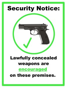 concealed carry encouraged sign