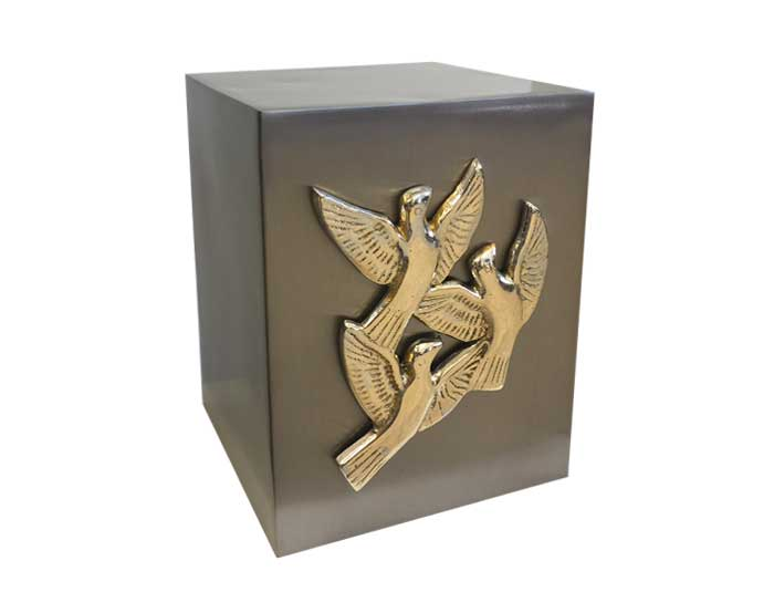 Dove Cube Metal Urn MU182 Casket Manufacturer Of Wood