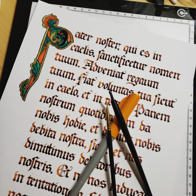 Calligraphy - The Lord's Prayer in Latin