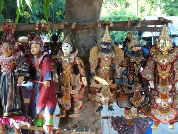 Myanmar puppets for sale in Mingun, Myanmar.