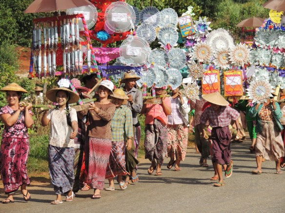Katina festival parade carrying donations for monks near Lashio, northern Myanmar