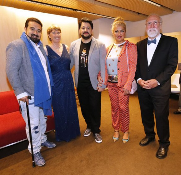 Elchin Azizov, Wendy Evans, Yusif Eyvazov, Anna Netrebko, Phil Evans. Our official 'meet and greet' picture.