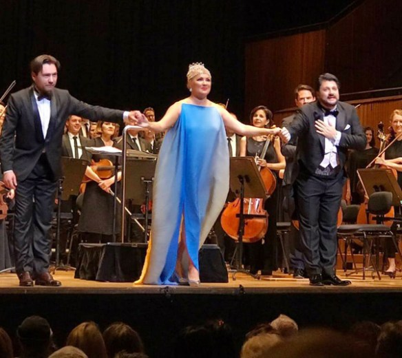 Mikhail Tatarnikov, Anna Netrebko and Yusif Eyvazov in the first half of the Anna Netrebko concert 'An Evening of Opera Highlights', Sydney Opera House, 24 October 2017.