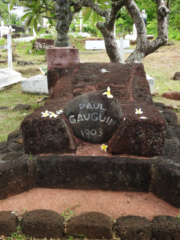 Paul Gauguin's tomb in the Catholic cemetery at Atuona on Hiva Oa, Marquesaas Islands.