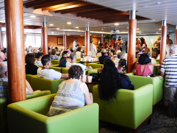 The Aranui 5's large lounge was used for lectures and for other presentations if the weather was too wet to use the Pool Deck.