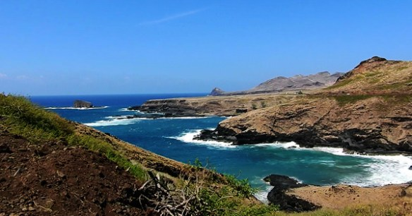 There are spectacular views from the road along the coastal hills on Ua Huka, Marquesas Islands.