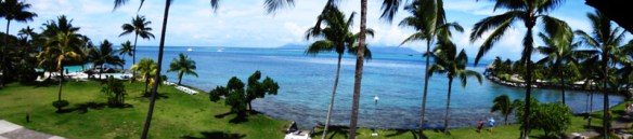 Panoramic view from the balcony of our room showing to the left the garden fronting on to the lagoon and to the right the edge of the Lagoonarium with Moorea in the distance.