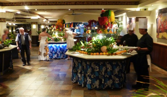 The buffet islands in Te Tiare restaurant have a plentiful range of food at both breakfast and dinner.