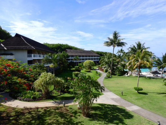 The jogging track goes through the lush garden along the waterfront and back behind the accommodation blocks.